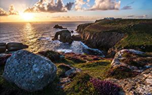 Fotos England Küste Stein Landschaftsfotografie Meer Wolke Cornwall Natur