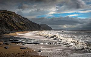 Bilder England Küste Wasserwelle Wolke Charmouth Beach Natur