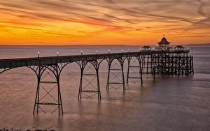 Hintergrundbilder England Abend Küste Bootssteg Clevedon Pier, Somerset