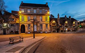 Hintergrundbilder England Abend Gebäude Straße Bank (Möbel) Straßenlaterne Wiltshire, Bradford-on-Avon