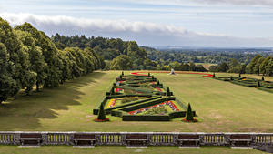 Bilder England Garten Design Rasen Strauch Bäume Zaun Cliveden Garden Natur