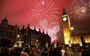 Wallpapers England Holidays Fireworks Clock London Night time Tower Big Ben Cities