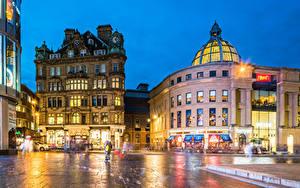 Hintergrundbilder England Gebäude Abend Straße Lichtstrahl Newcastle