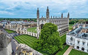 Bilder England Gebäude Rasen King's College Cambridge Städte