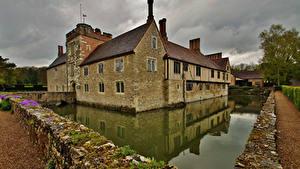 Bilder England Gebäude Teich Steinern Ightham Mote