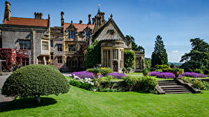 Pictures England Building Mansion Design Bush Stairway Lawn Tyntesfield Victorian Gothic revival house Cities