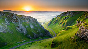 Bilder England Morgen Berg Morgendämmerung und Sonnenuntergang Peak District