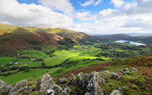 Fotos England Berg See Grünland Wolke Felsen Hügel Lake District, Cumbria