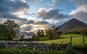 Bilder England Gebirge Park Wolke Zaun Steinernen Lake District, Cumbria