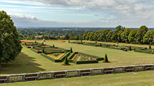 Desktop hintergrundbilder England Parks Design Strauch Zaun Bäume Cliveden Garden Natur