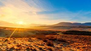 Hintergrundbilder England Parks Morgendämmerung und Sonnenuntergang Lichtstrahl Hügel Horizont Yorkshire Dales national Park, Yorkshire