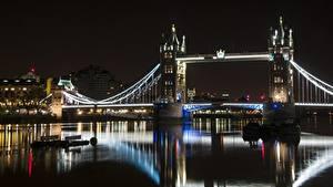 Bilder England Fluss Brücke London Nacht Tower bridge, Thames