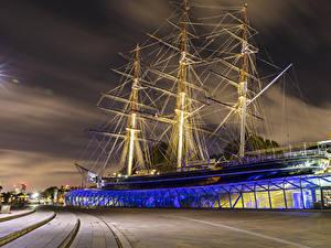 Fotos England Schiff Segeln London Museum Nacht Cutty Sark Museum Städte