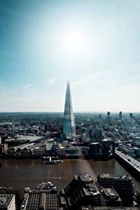 Hintergrundbilder England Wolkenkratzer Fluss London The Shard, Thames Städte
