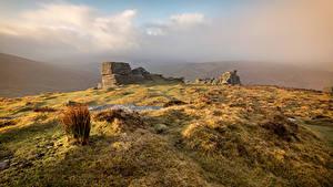 Hintergrundbilder England Stein Ruinen Hügel Dartmoor Natur
