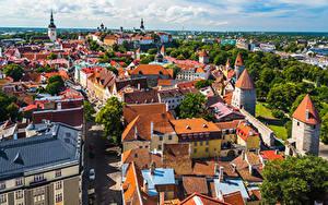 Fotos Estland Tallinn Gebäude Dach Von oben Städte