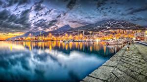 Fotos Abend Küste Italien Meer HDR Salerno Städte