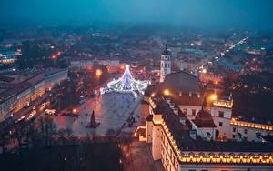 Fotos Abend Gebäude Litauen Vilnius Von oben Platz