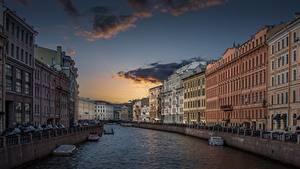 Hintergrundbilder Abend Gebäude Himmel Sankt Petersburg Russland Fluss Kanal Waterfront Städte