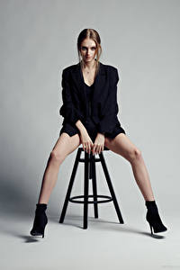 Photo Evgeniy Bulatov Model Chairs Sitting Legs Glance Eva Alekseenko female