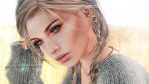 Bilder Gesicht Starren Haar Dunkelbraun Zopf Mädchens 3D-Grafik