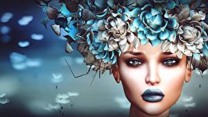 Bilder Gesicht Make Up 3D-Grafik Mädchens