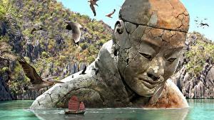 Fotos Fantastische Welt Schiffe Wasser Möwen Denkmal Fantasy