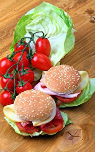 Fotos Fast food Butterbrot Brötchen Tomate Kohl Burger Bretter