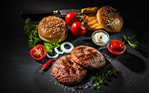 Image Fast food Hamburger Buns Meatballs Tomatoes Ketchup Salt Food