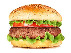 Bilder Fast food Hamburger Brötchen Fleischwaren Weißer hintergrund
