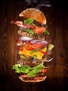 Bilder Fast food Burger Brötchen Gemüse Fleischwaren
