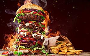Hintergrundbilder Fast food Hamburger Pommes frites Gemüse Fleischwaren Dampf