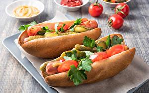 Fotos Fast food Hotdog Brötchen Gemüse