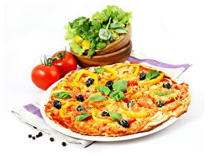 Hintergrundbilder Fast food Pizza Gemüse Tomate Weißer hintergrund Basilikum