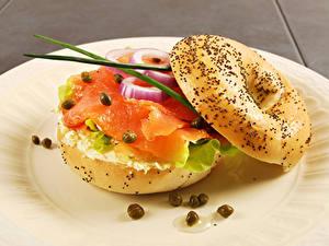 Fotos Fast food Sandwich Brötchen Fische - Lebensmittel Gemüse