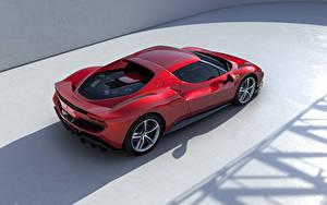 Hintergrundbilder Ferrari Rot Metallisch Von oben 296 GTB (F171), 2022 Autos