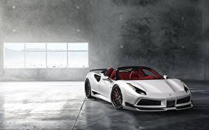 Hintergrundbilder Ferrari Weiß Roadster Wide 488 Rearl