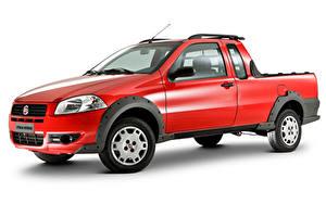 Fotos Fiat Rot Metallisch Pick-up Weißer hintergrund  automobil