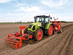 Hintergrundbilder Acker Landwirtschaftlichen Maschinen Traktoren 2008-20 Claas Axos 340