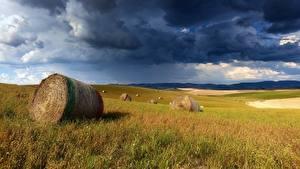 Bilder Acker Gewitterwolke Heu Wolke Gras