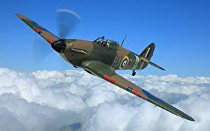 Bilder Jagdflugzeug Flugzeuge Flug Wolke Hawker Hurricane MK1 Luftfahrt