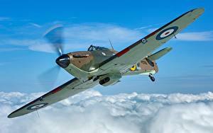 Hintergrundbilder Jagdflugzeug Flugzeuge Flug Wolke Hawker Hurricane MK1 Luftfahrt