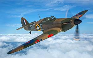 Hintergrundbilder Jagdflugzeug Flugzeuge Flug Wolke Britisches Hawker Hurricane MK1 Luftfahrt