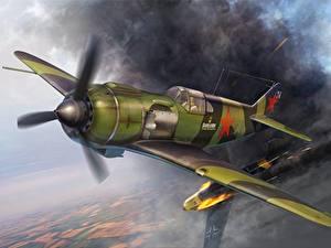 Bilder Jagdflugzeug Flugzeuge Gezeichnet Flug Lavochkin La-5, WW2 Luftfahrt