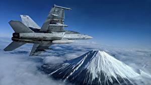 Hintergrundbilder Flugzeuge Jagdflugzeug Gebirge Flug Super Hornet, F/A-18F, U.S. 7th Fleet Luftfahrt