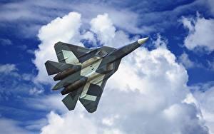 Bilder Flugzeuge Jagdflugzeug Himmel Wolke Flug Russische Sukhoi PAK FA T-50 Luftfahrt