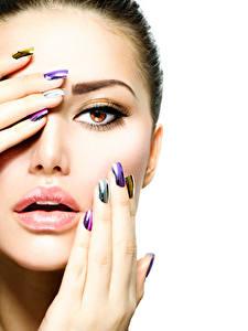 Bilder Finger Lippe Weißer hintergrund Gesicht Schminke Maniküre junge Frauen