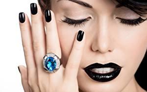 Bilder Finger Schminke Maniküre Ring Hand Schwarz Gesicht Model