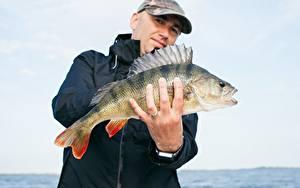 Hintergrundbilder Finger Mann Fische Fischerei Hand Ring Baseballmütze Perch Tiere