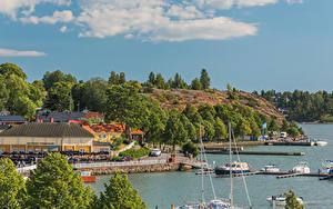 Hintergrundbilder Finnland Gebäude Bootssteg Binnenschiff Küste Naantali Harbour Städte
